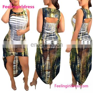 2017 Individualized Print Ripped Cut Out Dress Beach Maxi Dress Summer