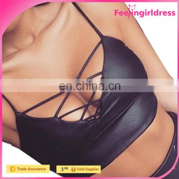 Wholesale Cut Out Hot PU Camisole Ladies Spaghetti Strap Top