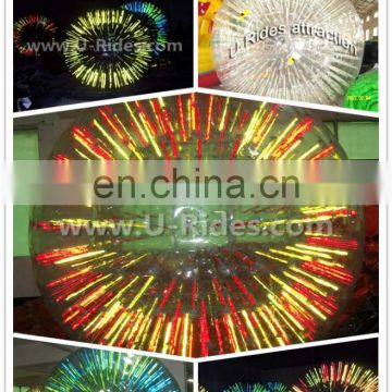 commercial colorful roller inflatable zorb ball with shinning light