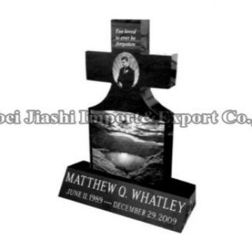 Cheap European/Russian/American Style Granite Black/Grey Tombstone Mounment Memorial Headstone Gravestone with Custom Design