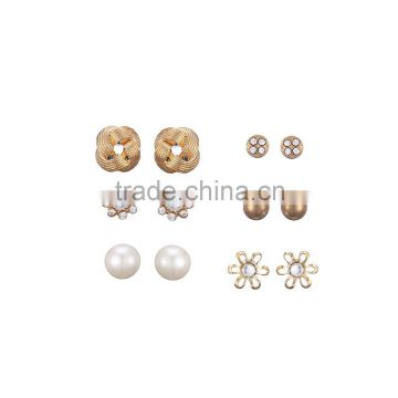 Gold Plated Love Knot Textured Hollow Out Flower Dragon Ball Pearl And CCB Ball Multi Stud Earring Pack
