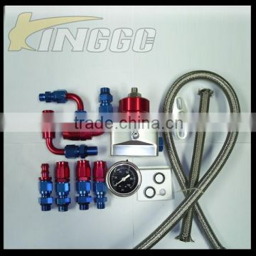 Auto Universal Adjustable Aluminum Fuel Pressure Regulator Kit with hose line kits&Fittings&Gauge