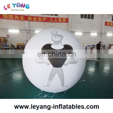 2M white inflatable helium balloon with Character features printing, balloon with person print