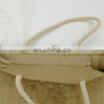 cotton handle grocery tote waterproof jute bag with Zipper