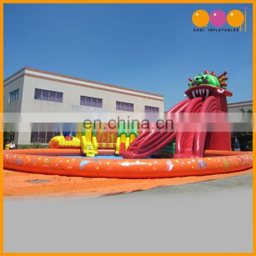 Commercial use giant octopus slide inflatable water park with pool for sale