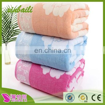 china supplier wholesale 100% cotton towel blanket jacquard weaveterry towels pink blue yellow
