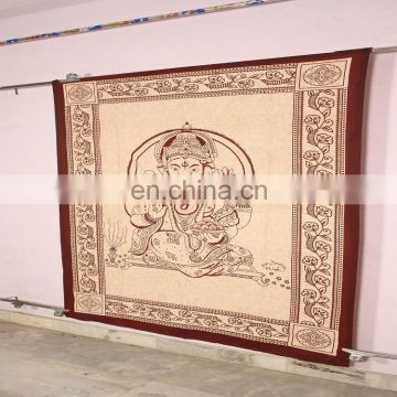 Beautiful Handmade Indian Ganesha Design Cotton Wall Hanging Tapestry