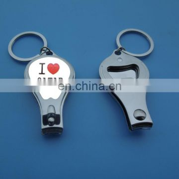 wholesale printed nail clipper keychain with bottle opener