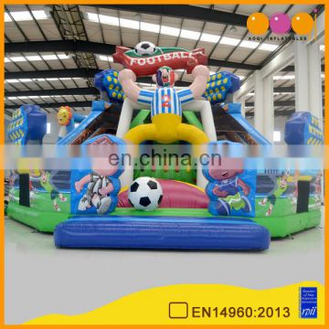 2016 latest design cheap football theme inflatable fun city infltable fun park playground on sale