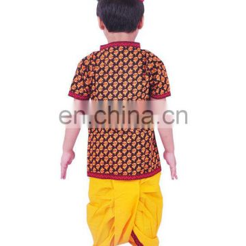Rajasthani Dress Boy's Dhoti Kurta & Turban, Indian Traditional, Ethnic, Handmade, Yellow Angrakha Set, Kedia Dress cotton