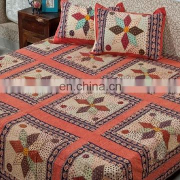 Indian Vintage 100 % Cotton Bedsheet Handmade Jaipuri Bedspread Bed Cover