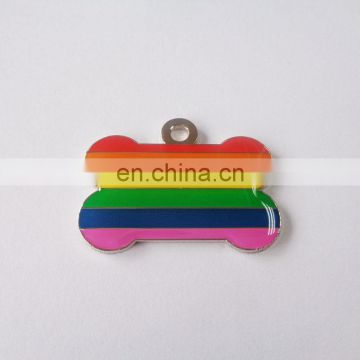 rainbow color bone shaped customized fashion desgin soft enamel hot sale metal dog tag