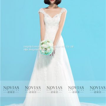 Sleeveless V-Neckline Lace Sheath Wedding Gown