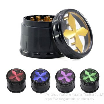 D63mm& H51mm Aluminium alloy cross shape grinder 4-layer Chamfering drum smoke grinder as colorful cigar crushing accessory for tobacco,smoke,cigarette