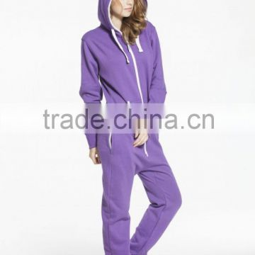 OEM Adult Solid Purple Onesie ladies Semi-fitted Jumpsuit