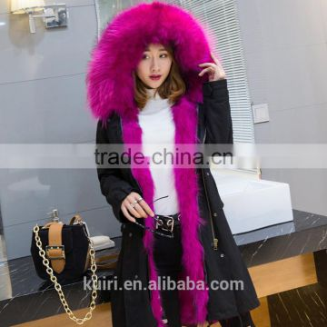 2017 New Style Fox Raccoon fur Lining Coats Real fur Parka With Hood pc-270