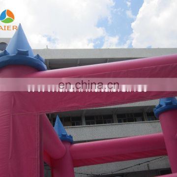 2016 pink princess castle with slide bouncy castles inflatables china