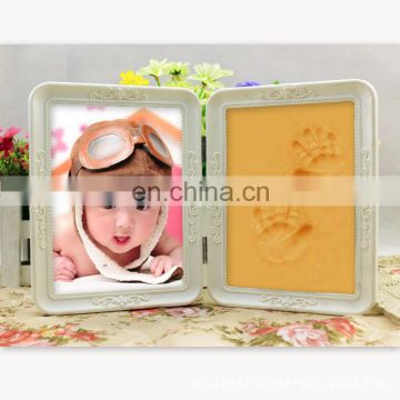 Floral Baby Handprint Kit Hand and Footprint Photo Frame Baby Soft Clay Display for Keepsake