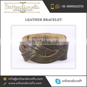 Hand-Made Wide Leather Bracelet for Men at Amazing Value from Wonderful Supplier