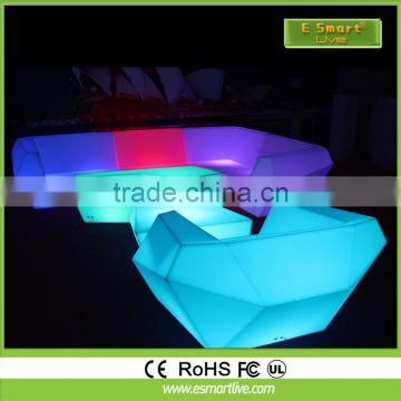Smart App remote control rechargeable LED Glowing Table LED Outdoor Garden Bar Furniture /LED bar furniture