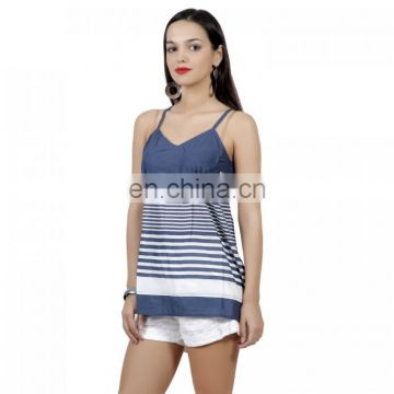 White And Blue Striped Top for girls