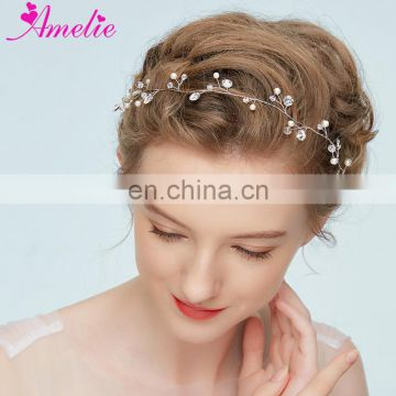 Silver Headband Crystal Hair Vine Enchanted Floral Wedding Accessories Bridal Headband Pearl Formal Dresses Photo Prop Headpiece