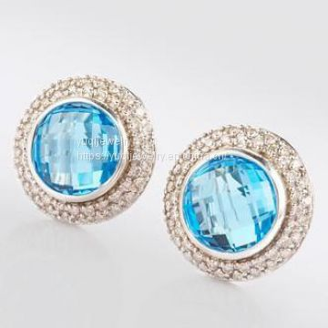 925 Sterling Silver Jewelry 10mm Blue Topaz Cerise Earrings(E-055)