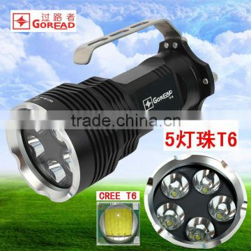 GOREAD Y4 black aluminum portable High bright 5*T6 50W LED rechargeable search products