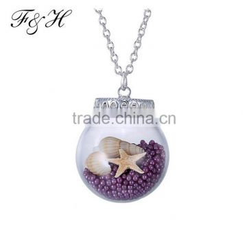 Wholesale Necklace In Stock Simple Design Chain Necklace, Beach Series Locket Pendant with Shell and Pearls