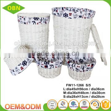 Large home cheap unique round storage wicker white wash laundry basket