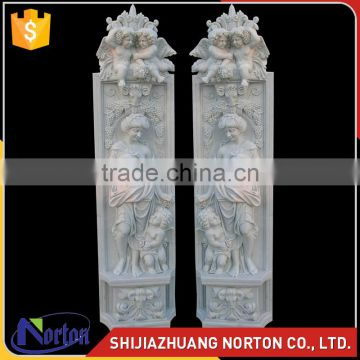 carved lady statue white marble roman corinthian columns NTMF-C251S