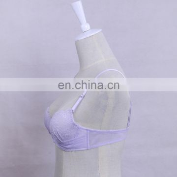 China Factory Comfortable Light Purple Padded Push Up Young Lady Bra