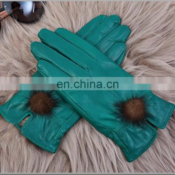 Solid color real leather ladies fur gloves with cute mink fur ball
