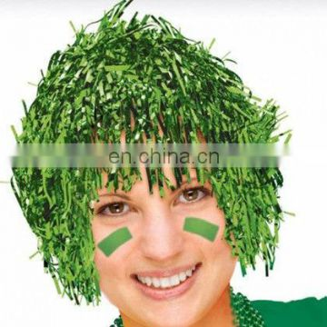 Adults Economy greeh Foil Tinsel sport Wig