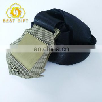 Manufacturer Make Gold Award Metal Sports Medal With Black Ribbon