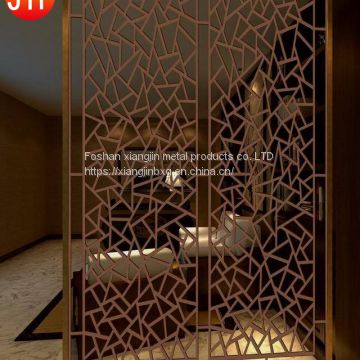 JYFQ0174 304 bronze with hairline finish stainless steel hotel room divider