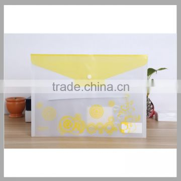 office stationery A4 clear plastic bag PP clear file folder envelop shape document file bag with snap closure