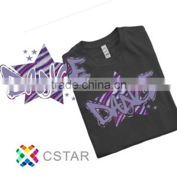 Cheer Dance Stripe Purple Glitter Hot Fix OEM service Means For Tshirt Motif