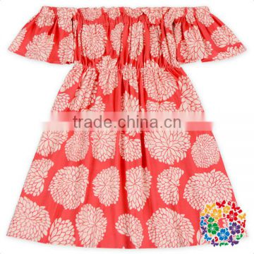 pineapple fabric girls summer off shoulder elastic dress wholesale baby frock design
