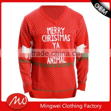 Man Basic Letter Print Argyle Ugly Christmas Sweater Knitting