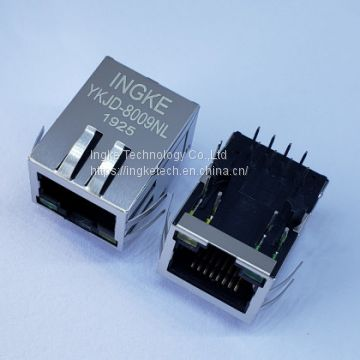Ingke YKJD-8009NL Direct Substitute HFJ11-2450E-LS12RL 1 Port Through Hole 100 Base-T Magnetic RJ45 Connectors