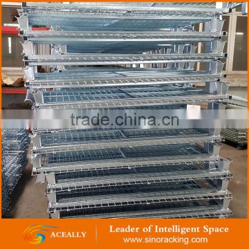 Aceally Factory wholesale steel storage cage/foldable wire mesh storage container / pallet box