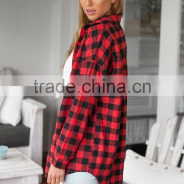 New Autumn Women Plaid Checks Button Down Long Sleeve Long Blouse Dress shirt