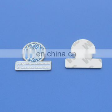 mini adhesive metal logo labels/stickers for promotional