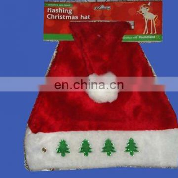 Promotional plush christmas santa hat with red star