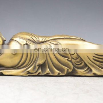 Thailand temple Bronze Brass rest sleep Sakyamuni Reclining Buddha Statue