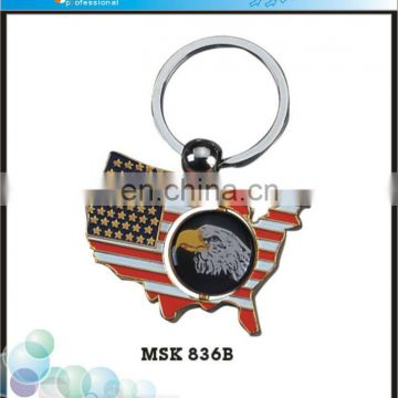 Tourist Souvenir USA Map Personalized Keychain Custom Made Metal Keychains