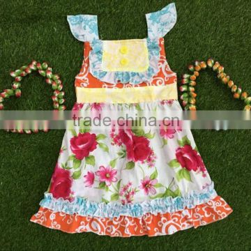 Toddler Girl Clothes Boutique Sleeveless Dress Ruffle Button Apple Flower Prints Frock Design For Baby Girl