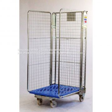 Logistics Warehouse Roll Cage Trolley / Steel Roll Container