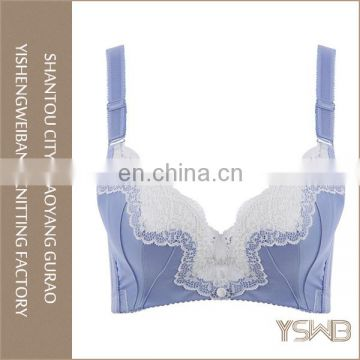 Most popular lace trim young girl blue cotton hot sexy bra